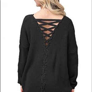 ✖️Black Long Sleeve Criss Cross Back Knit Sweater
